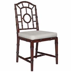 Fenn Hollywood Regency Linen Walnut Chippendale Dining Side Chair