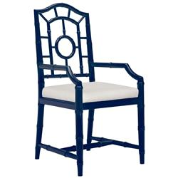 Bungalow 5 Chloe Hollywood Regency Linen Blue Chippendale Dining Arm Chair