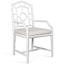 Fenn Hollywood Regency Linen White Chippendale Dining Arm Chair