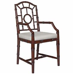 Fenn Hollywood Regency Linen Walnut Chippendale Dining Arm Chair