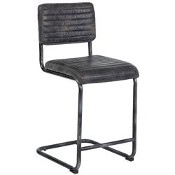 Regina Andrew Dylan Industrial  Antique Ebony Leather Counter Stool - Pair