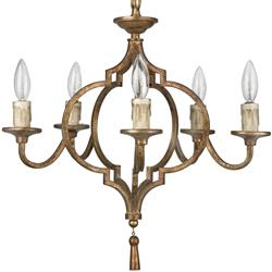 Coraline French Country Antique Gold Arabesque 5 Light Chandelier