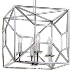 Tippi Hollywood Regency Nickel Geo Cage 4 Light Chandelier