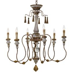 Adelia French Country Distressed Rustic 6 Light Chandelier