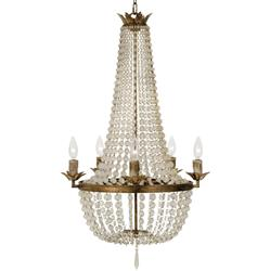Diane French Country Ivory Bead Antique Gold 5 Light Chandelier