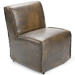 Kilgore Industrial Loft Vintage Leather Slipcover Rolling Chair