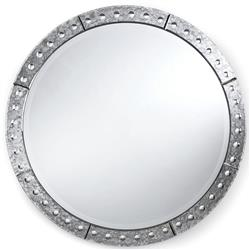 "Crewe Hollywood Regency Antique Silver Round Mirror - 32""D 