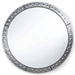 Regina Andrew Venetian Hollywood  Antique Silver Round Mirror - 42 Inch - 42D
