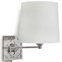 Clayton Hollywood Regency Polished Nickel Swing Arm Wall Sconce