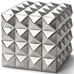 Lisbeth Modern Classic Silver Pyramid Cubic Box