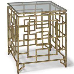 Phyllis Hollywood Regency Brass Iron Grill Abstract End Table