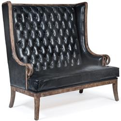 Vince Modern Classic High Back Tufted Black Leather Wood Settee