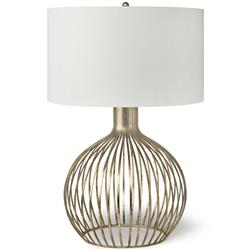 Rajah Hollywood Regency Antique Gold Metal Cage Table Lamp