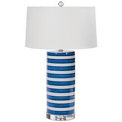 Regina Andrew Ceramic Coastal Beach Classic Blue Stripe Ceramic Table Lamp