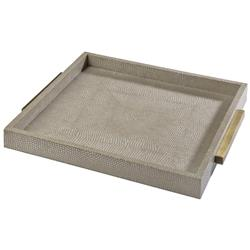 Regina Andrew Tray Modern Classic Faux Python Ivory Grey Square Tray
