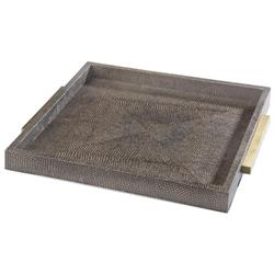 Regina Andrew Tray Modern Classic Faux Python Grey Brown Square Tray