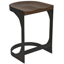 Noir Baxter Industrial Loft Modern Rustic Wood Metal Counter Stool