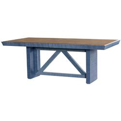Delen Modern Classic Blue Lacquer Grasscloth Brown Dining Table | B5-DOR-375-68-TB
