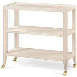Delen Modern Ivory Lacquer Grasscloth Casters Console Table