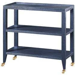 Delen Modern Blue Lacquer Grasscloth Casters Console Table