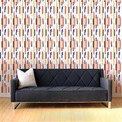 Bars Modern Classic Orange Pink Blue Removable Wallpaper