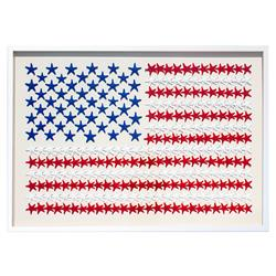 American Flag Coastal Starfish White Wall Decor - by WJC Design