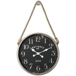 Engels Industrial Loft Rustic Rope Hanging Wall Clock