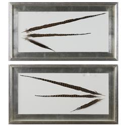 Faisan Modern Classic Dipped Feather Shadow Box Wall Decor - Pair