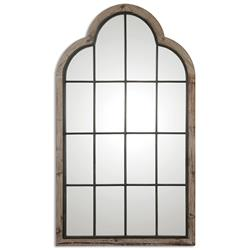 Gavin Rustic Lodge Iron Pane Arch Floor Mirror