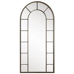 Vinton Industrial Loft Black Iron Arch Windowpane Floor Mirror
