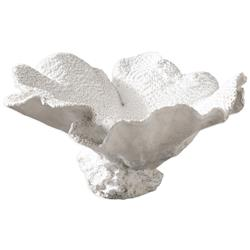 Hali Coastal Beach Textured Ivory Resin Coral Bowl