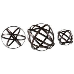 Jetson Industrial Loft Bronze Metal Spheres Decor - Set of 3