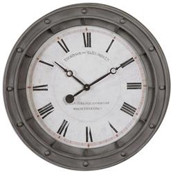 Cowanson Industrial Loft Porthole Grey Round Wall Clock | Kathy Kuo Home