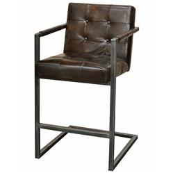 Townsend Industrial Loft Tufted Dark Brown Leather Barstool