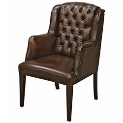 Fenton Industrial Loft Tufted Dark Brown Leather Armchair