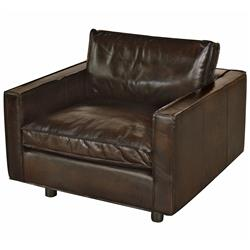 Willet Industrial Loft Dark Brown Leather Cubed Armchair | HS-TR24