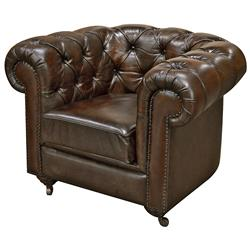 Ace Rustic Lodge Tufted Dark Brown Leather Casters Armchair