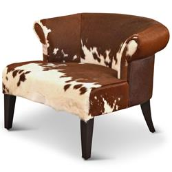 Arama Rustic Lodge Brown White Cowhide Wood Living Room Armchair