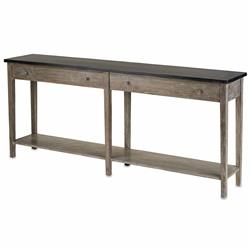 Parma Rustic Lodge Charcoal Grey Acacia Wood Console Table