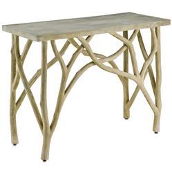 Elowen Rustic Lodge Concrete White Birch Console Table