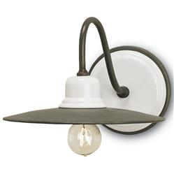Almanzo Industrial Loft White Ceramic 1 Light Wall Sconce