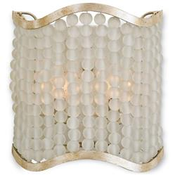 Edisto Hollywood Regency Style White Beaded Wave Wall Sconce