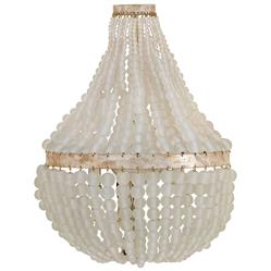Edisto Hollywood Regency Style White Beaded  2 Light Wall Sconce
