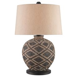 Chika Global Bazaar Terracotta Diamond Weave Table Lamp