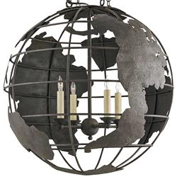 Peary Industrial Loft Wrought Iron Globe Chandelier