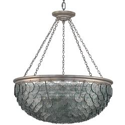 Hatteras Coastal Beach Indigo Glass Disc Chandelier