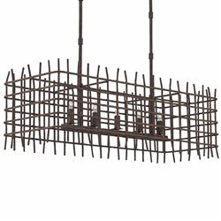 Rushton Industrial Loft Caged Iron 5 Light Rectangle Island Chandelier