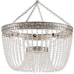 Garbo Hollywood Regency Antique Silver Leaf Crystal Bead Chandelier