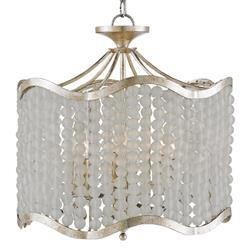 Edisto Hollywood Regency Style White Beaded 6 Light Chandelier