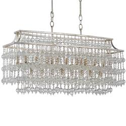 Havilland Hollywood Regency Crystal Beaded Cascade 17 Light Island Chandelier